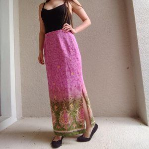 Vintage Textured Pink & Green Floral Maxi Dress